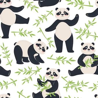 Modello panda simpatico panda con foglie di bambù cartone animato orso asiatico per tessuto senza cuciture per bambini