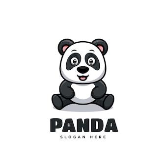 Panda seduto simpatico cartone animato kawaii mascotte logo creativo