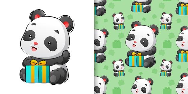 Panda seduto vicino a una scatola di regalo seamless pattern imposta illustrazione
