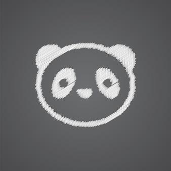 Panda schizzo logo doodle icona isolato su sfondo scuro