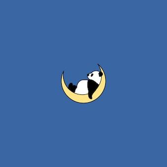 Panda che dorme sulla luna, illustrazione di vettore