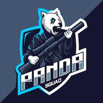Squadra panda con design del logo esport della mascotte della pistola