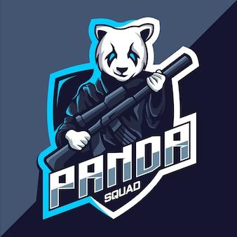 Squadra di panda con design del logo esport della mascotte della pistola