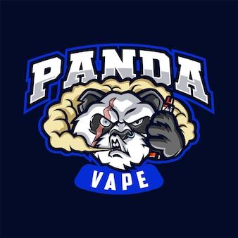 Illustrazione del logo della mascotte panda vape