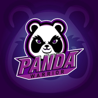 Logo di gioco panda warrior e sport