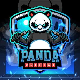 Mascotte del guerriero panda. design del logo esport