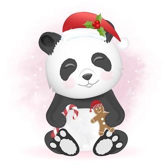 Panda con illustrazione di natale di pan di zenzero