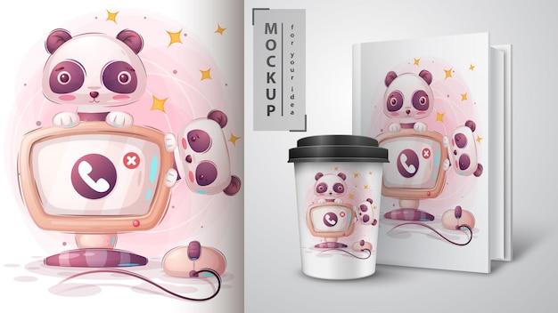 Panda lavora all'illustrazione e al merchandising del computer.