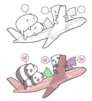 Panda e gatti salgono sulla pagina da colorare dei cartoni animati dell'aereo per i bambini
