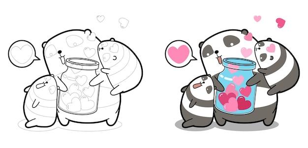 Panda e cuori in bottiglia per la pagina da colorare dei cartoni animati di san valentino per i bambini