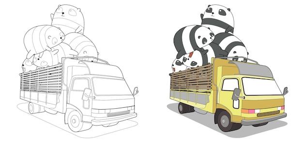 Pagina da colorare di panda sul camion per bambini
