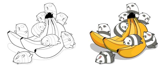 Pagina da colorare di panda con banana per bambini