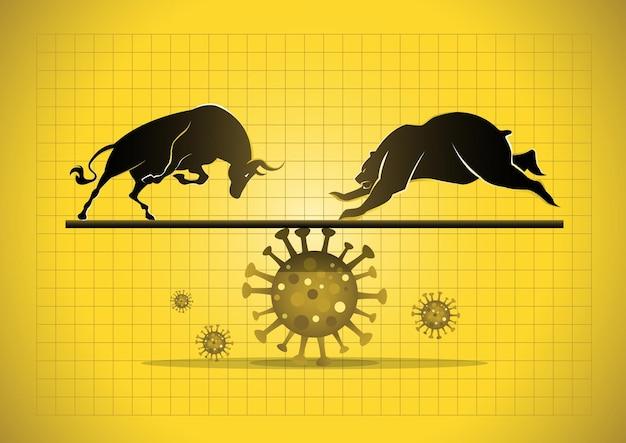 Mercato azionario di impatto pandemico e concetto economico mondiale. mercato rialzista e ribassista nel coronavirus covid-19