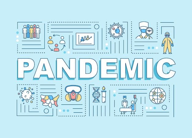 Bandiera di concetti di parola pandemia. focolaio di virus contagioso. diffusione globale della malattia. infografica con icone lineari su sfondo menta. tipografia isolata. illustrazione a colori rgb di contorno vettoriale