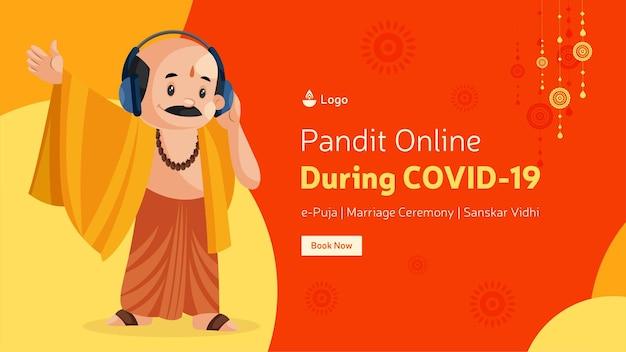 Pandit online durante il design del banner covid 19
