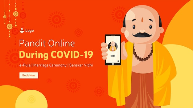 Pandit online durante covid19 per il modello di progettazione banner epuja