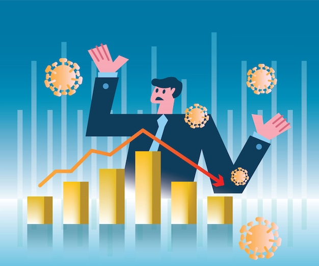 Uomo d'affari di panico con crollo del mercato azionario o crisi dell'economia finanziaria causata dal coronavirus. illustrazione design piatto