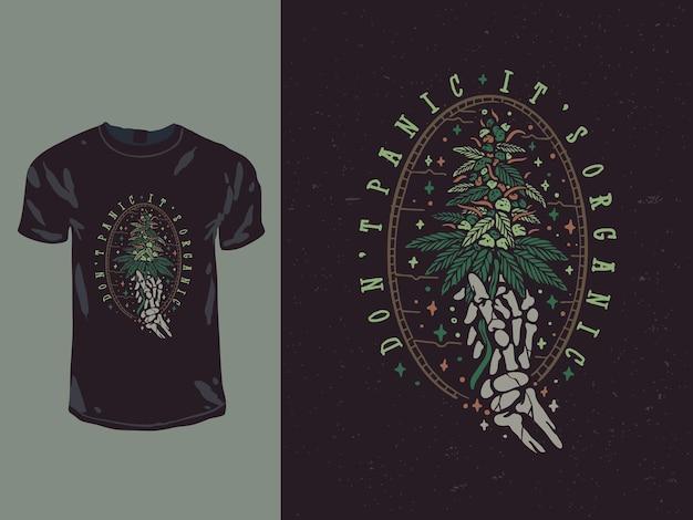 Niente panico, è il design della maglietta con foglie di cannabis organica