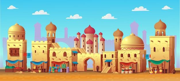 Panorama dell'antica città araba con case e mercato arabo. in stile cartone animato.