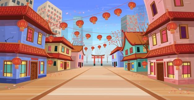 Panorama strada cinese con vecchie case, arco cinese, lanterne e una ghirlanda. illustrazione vettoriale di strada cittadina in stile cartone animato.