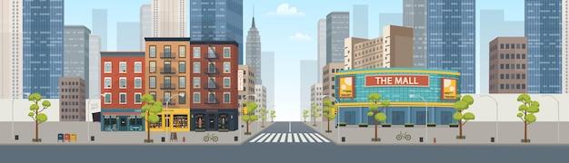 Panorama della città che costruisce case con negozi: boutique, bar, libreria, centro commerciale. illustrazione in stile.
