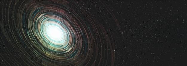 Panorama nebulosa interstellare su sfondo galassia con spirale via lattea, universo e concetto stellato