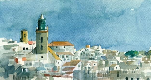 Panorama del paesaggio dell'acquerello della città vecchia