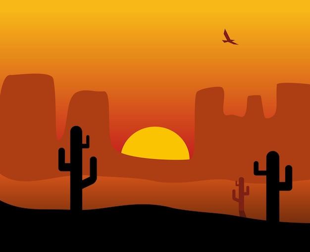 Panorama del deserto al tramonto con cactus, sole, uccelli. illustrazione di colore piatto vettoriale. per banner mare. illustrazione di colore orizzontale piatto vettoriale. per banner orizzontale