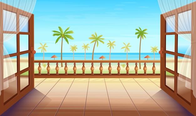 Panorama isola tropicale con porte aperte, palme, mare e spiaggia. uscita sulla terrazza con vista sull'isola tropicale. illustrazione in stile cartone animato.