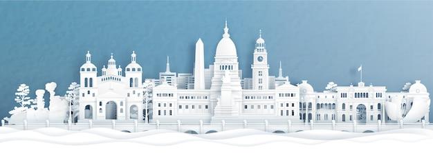 Vista panoramica di bueno aires, skyline di argentina con monumenti di fama mondiale dell'indonesia in carta tagliata