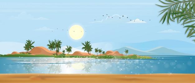 Vista panoramica vista sul mare tropicale dell'oceano blu e albero del cocco sull'isola, spiaggia panoramica del mare e sabbia con cielo blu, illustrazione stile piatto natura del paesaggio mare per vacanze estive