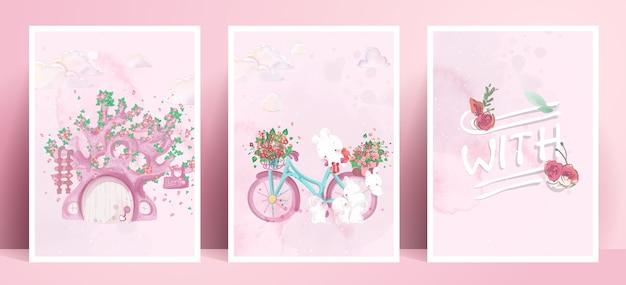 Panorama di pittura ad acquerello lifestyle vita quotidiana conigli in gesti umani illustrazione romantica in tonalità di colore pastello.