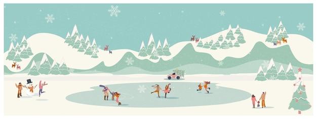 Panoramica illustrazione vettoriale di un paesaggio di vacanze invernali di natale persone attività di pattinaggio sul lago ghiacciato con pupazzo di neve per bambini