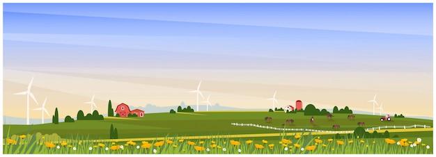 Illustrazione panoramica di vettore della campagna rurale con la fattoria, l'allevamento di cavalli e il generatore eolico in primavera. bella progettazione piana dell'azienda agricola o agricola con il papavero e il fiore selvaggio concetto organico dell'azienda agricola