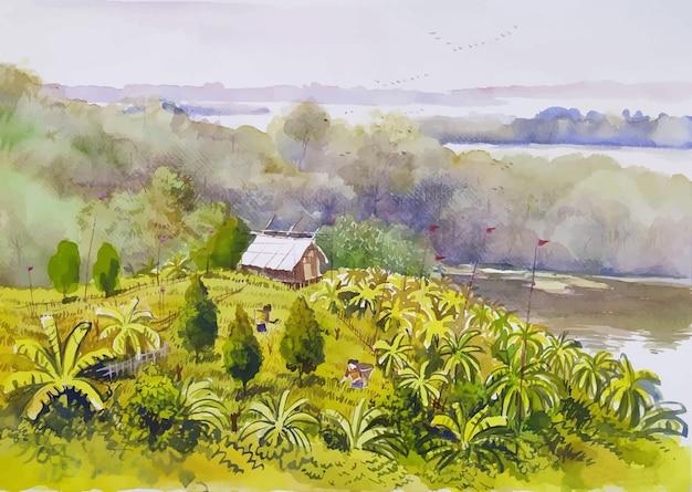 Vista panoramica degli alberi della collina con una piccola casa sull'illustrazione del paesaggio della natura della pittura ad acquerello della collina