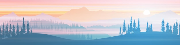 Vista panoramica della catena montuosa nella foschia mattutina