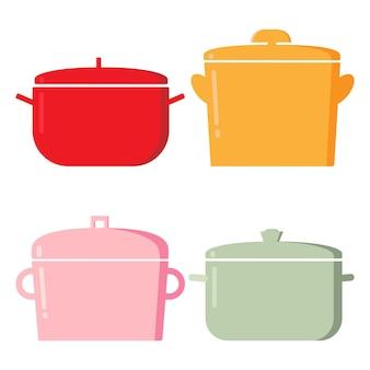 Pentole. articoli da cucina, raccolta di utensili da cucina del fumetto per cucinare, illustrazione vettoriale di elementi per cucinare e friggere isolati su priorità bassa bianca.