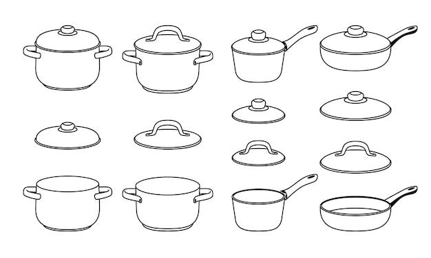 Icone di schizzo di pentole. elementi di pan di linea disegnata a mano per cucina, sagome di cartoni animati neri di oggetti di pentole, illustrazione vettoriale di cucinare elementi abbozzati insieme isolato su sfondo bianco