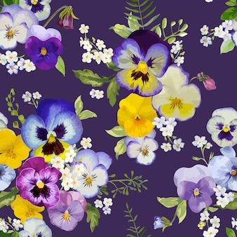 Pansy flowers seamless motivo floreale