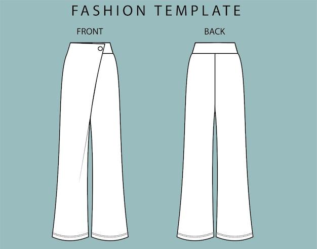 Vista anteriore e posteriore dei pantaloni