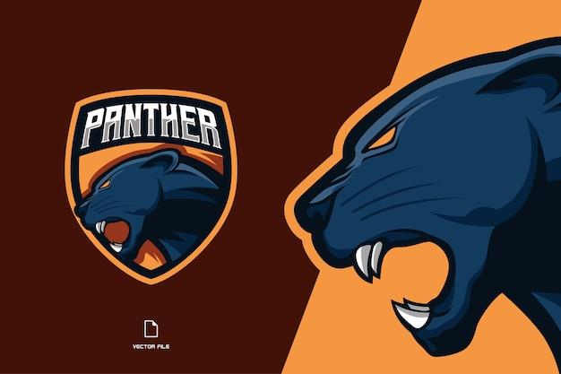 Logo esport della mascotte della testa di pantera per l'illustrazione del modello della squadra sportiva