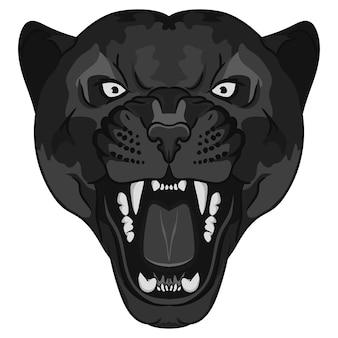 Ritratto di pantera. testa di grande gatto selvatico arrabbiato. fronte sveglio del gatto nero. puma aggressivo con denti scoperti in stile cartone animato, tatuaggio di gatto, stampa di t-shirt