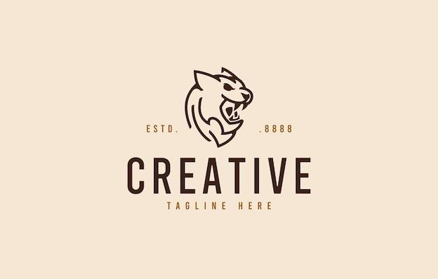 Modello di progettazione del logo della testa di pantera tigre