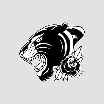 Illustrazione vettoriale di pantera dettagliata e modificabile