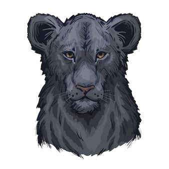 Leone panthera, ritratto di schizzo isolato animale esotico. illustrazione disegnata a mano.