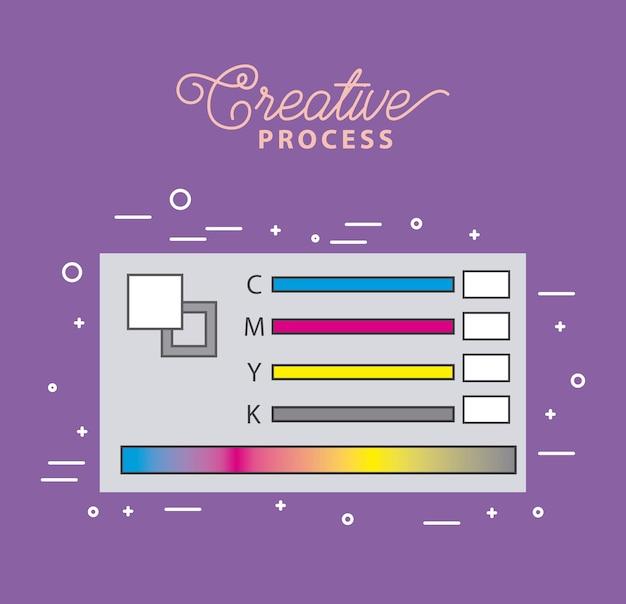 Strumenti di processo di lavoro colore pantone campione