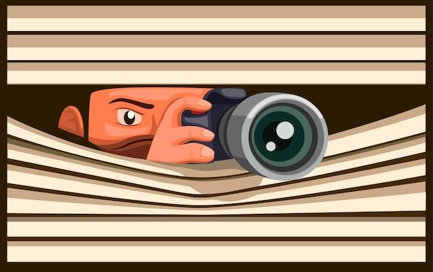 I paparazzi scattano foto usando la fotocamera dslr mentre si nascondono, foto di cattura dell'uomo dietro la finestra della tenda nell'illustrazione del fumetto