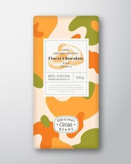 Layout di progettazione di imballaggi di forme astratte di forme astratte di etichetta di cioccolato papaya
