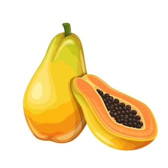Frutto di papaia in stile cartone animato.