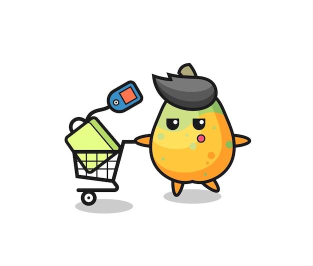 Fumetto dell'illustrazione della papaia con un carrello della spesa, design in stile carino per t-shirt, adesivo, elemento logo